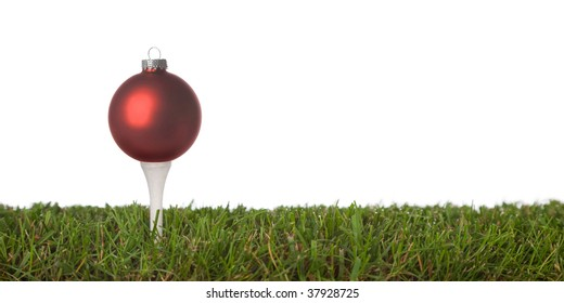christmas golf ball isolated on a white background .with plenty of copy-space