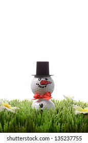 Christmas golfing concept, snow man with golf balls