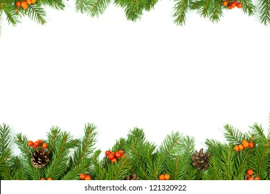 Christmas green  framework with cones and holly berry  isolated on white background