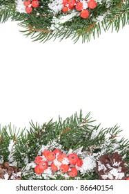 Christmas green  framework with snow  and holly berry  isolated on white background