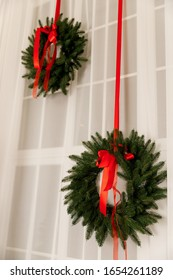Christmas green wreaths on a white background