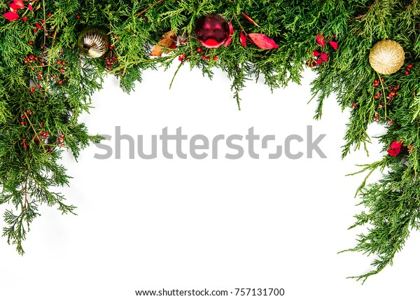 Christmas Greenery Images.Christmas Greenery Border Stock Photo Edit Now 757131700