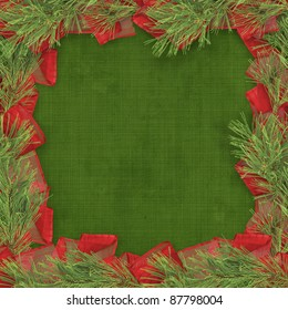 Christmas greeting card with branches of spruce and bows