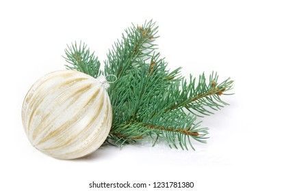 Christmas greeting card, christmas decoration with bauble, isolated