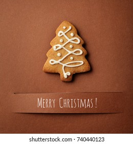 Christmas greeting card with decorative christmas gingerbread cookies