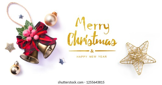 Christmas greeting card; Christmas element on white background; top view;
