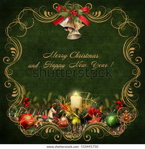 Christmas greeting card with golden swirls and christmas decorations