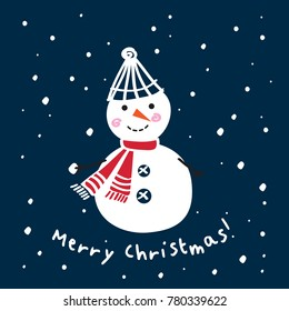 Christmas Greeting Card with hand drawn cute snowman. Dark blue background. Happy New Year 2018. Raster copy.