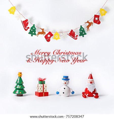 Christmas greeting card hanging banner cute stock photo edit now christmas greeting card with hanging banner and cute wooden figurine of christmas tree present m4hsunfo