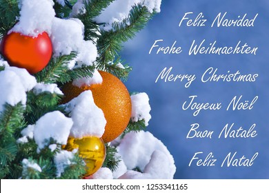 Multi Language Merry Christmas Stock Photos Images Photography