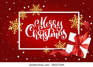 Christmas Greeting Card. Merry Christmas lettering, red background  illustration, with a Mesh gift box and golden snowflakes