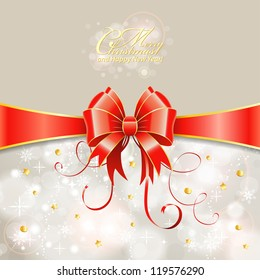 Christmas Greeting Card with Ribbon and Bow, vector illustration
