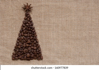 Christmas greeting card, tree on sack background