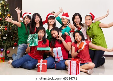 Christmas group photo shot of Asian young people