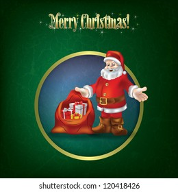 Christmas grunge greeting with Santa Claus and gifts
