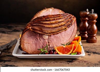 Christmas ham brown sugar glazed spiral cut