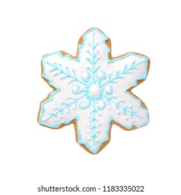 christmas handmade gingerbread cookie snowflake isolated on white