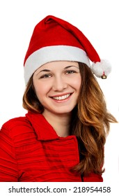 christmas, happiness concept - smiling woman in santa helper hat with parcel box