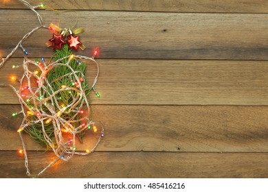Christmas and happy new year concept with wooden background