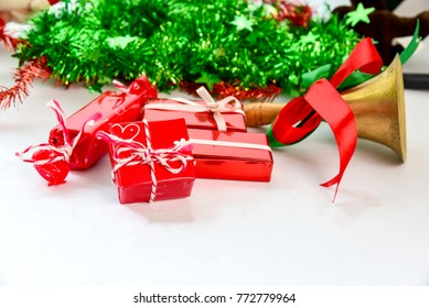 Christmas and Happy new year concept with gift boxes and christmas festive decorations. Happy time in long weekend Holiday