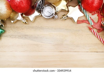 Christmas and happy new year festival concept of  decor gift  on the wooden background vintage style