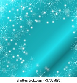 Christmas, Happy New Year greeting holiday illustration. Winter golden white festive background with snowflakes and place for text for postcards, banners, cover design,invitations,labels,web design.
