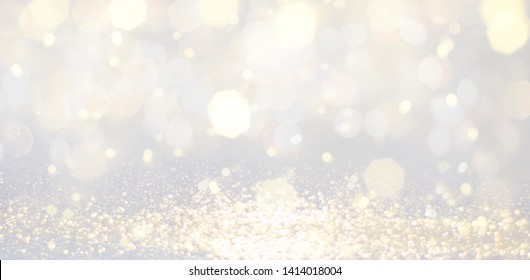Christmas and Happy new year on blurred bokeh with snowfall banner background