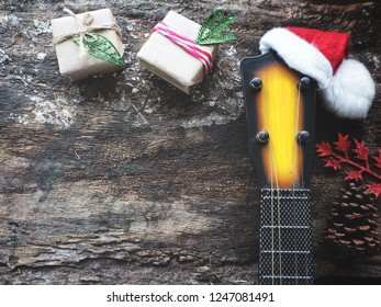 Christmas hat and guitars ukulele