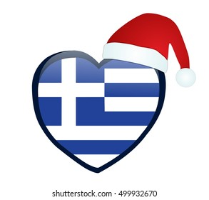 Christmas heart with national flag of Greece