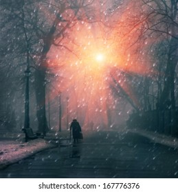Christmas is a holiday of all Christians in Europe but there are a lot of lonely people who met the New Year holidays alone ... often it - older people Mariiinsky beautiful park their sadness winter