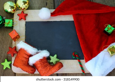 Christmas holiday background with blank chalkboard