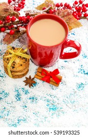 Christmas holiday background with coffee cup