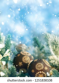 Christmas Holiday Background decorated with baubles. Christmas and New Year Decoration art design