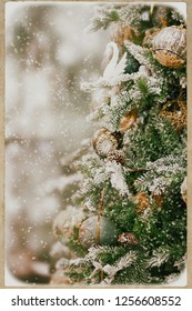 Christmas Holiday Background with decorated Christmas tree - retro style