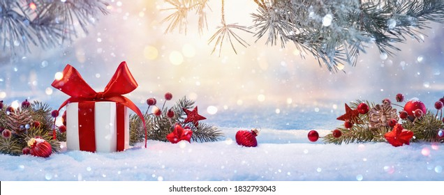 Christmas Holiday Background With Gift And Decorations On A Sunny Background - Shutterstock ID 1832793043