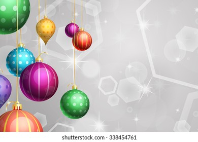 Christmas Holiday Background with Hanging Ornaments