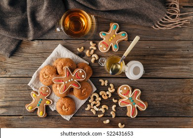 Christmas Holiday Background.Gingerbread Man