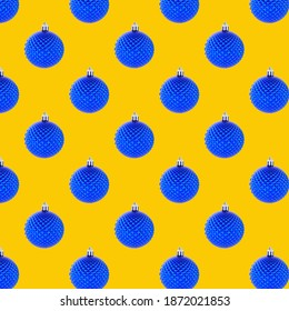 Christmas Holiday blue Ball pattern  isolated on a yellow background.