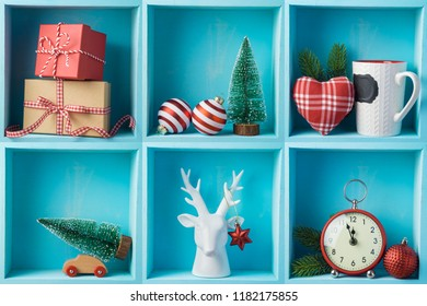 Christmas holiday composition with gift boxes, pine tree and decorations