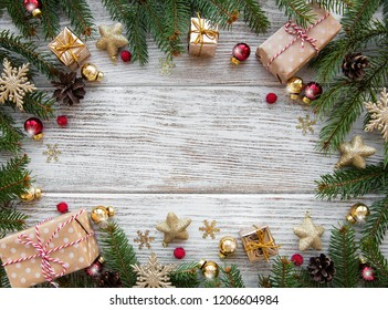 Christmas holiday decoration on a old wooden background
