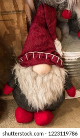 Christmas Holiday Gnome with Long White Beard and Red Stocking Hat.