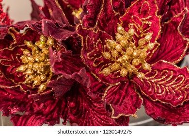 Christmas, Holiday Gold and Red Flower Tree Ornament