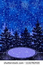 Christmas Holiday Landscape, Winter Forest, Spruce Fir Trees and Snowflake Silhouettes and Place for Your Text on Abstract Blue Background.