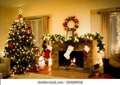 Christmas holiday living room with christmas tree and fireplace