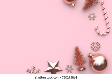 christmas holiday new year concept minimal pink background abstract snow star christmas tree ball candy pink metallic glossy-rose gold 3d rendering