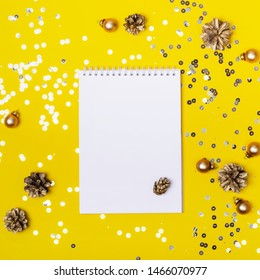 Christmas holiday shining background with notepad for your text or creativity..