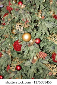 Christmas holiday tree close up decorated with gold, red, and silver ornaments and ribbons and pine cones on its pale green branches