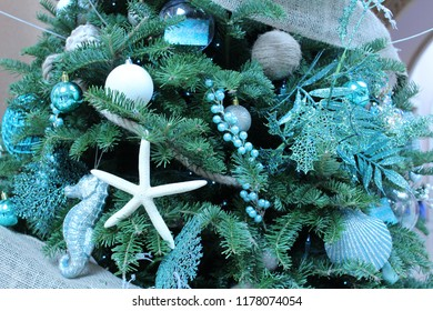 Christmas holiday tree close up decorated with a blue theme of sea creatures including starfish, seahorses, round ornaments, holly branches, seashells, and burlap ribbon, on its dark green branches