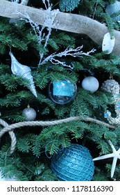 Christmas holiday tree close up decorated with a blue theme of sea creatures including starfish, round ornaments, holly branches, seashells, braided rope, and burlap ribbon, on its dark green branches