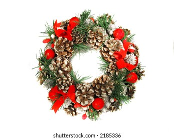 Christmas Holiday Wreath with Brightly Colored Ornaments and Pinecones